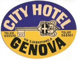 ETICHETTA PUBBLICITà ALBERGO CITY HOTEL GENOVA LUGGAGE LABEL - Hotel Labels