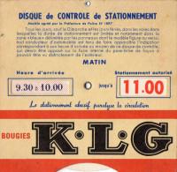 DISQUE de CONTROLE de STATIONNEMENT  Bougies K.L.G   VILLE de Paris