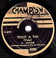 78 Trs - 22 Cm - CHAMPION 5066 - état TB  -  P. ANDRE - TOUT A TOI - EN SOUFFRANT - 78 T - Disques Pour Gramophone