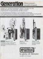 1970 - Proiettore EUMIG -  1  Pubblicità Cm. 13,5 X 18,5 - Film Projectors