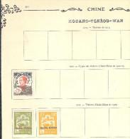 KOUANG TCHEOU 3 Timbres Neufs Collés Sur Ancienne Feuille D'album De 1923 Et 1927 (indochine Surchargés) Faire Offre !! - Kouang-Tchéou (1906-1945)