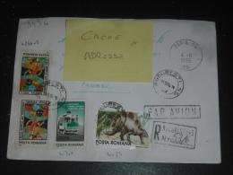 LETTRE RECOMMANDEE ROUMANIE ROMANIA ROMANA AVEC YT 4266 4301 4085 4163 - DINOSAURE PREHISTOIRE TRAMWAY ARBRE TREE CHENE - Covers & Documents