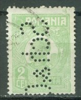 ROMANIA 1919-26: YT 288 I, PERFIN, O - LIVRAISON GRATUITE A PARTIR DE 10 EUROS - Usati