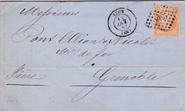 ANCIENNE LETTRE FRANCE CACHET 1862 LYON PC 1818 SUR TIMBRE 40C EMPIRE ORANGE POUR GRENOBLE - Postmark Collection (Covers)