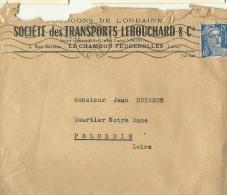 ENVELOPPE  PUBLICITE SOCIETE DES TRANSPORTS  LEBOUCHARD ET CIE LE CHAMBON FEUGEROLLES LOIRE  CACHET 1954 - Other