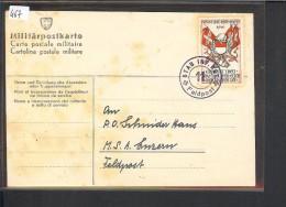 SUISSE MILITAIRE - TIMBRE INF. RGT. 11  SUR CARTE - TRACE DE ROUILLE - Documents