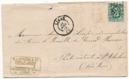1872 FIRMABRIEF MET PZ30 VAN LIEGE(2RING+PUNTSTEMPEL 217) NAAR (PR)St GHISLAIN(2RING) !!SCHEURTJE!!ZIE SCAN(S) - 1869-1883 Léopold II