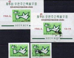 6.Brief-Woche 1966 Korea Süd 533B,Block 228 **/o 19€ Brieftaube Brief Korrospondenz In The World M/s Bloc Sheet Bf Coree - Korea, South