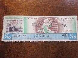 1952 Billet Loterie Nationale Française Tranche Du Petit Quinquin Du Nord Vignette  FES FEZ  Maroc - Billetes De Lotería