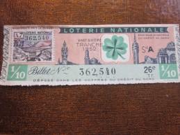 1952  Billet Loterie Nationale Française Tréfle à 4 Feuilles Porte-bonheur >vignette IM FOUTH MAROC - Billetes De Lotería