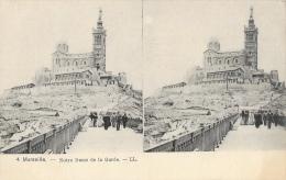 Marseille - Notre-Dame De La Garde - Carte Stéréoscopique LL Non Circulée - Notre-Dame De La Garde, Funicolare E Vergine