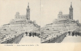 Marseille - Notre-Dame De La Garde - Carte Stéréoscopique LL Non Circulée - Notre-Dame De La Garde, Aufzug Und Marienfigur