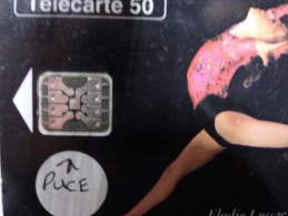 RARE :  LA PUCE SUR ELODIE LUSSAC 1993 ( NR 47181  AU DOS DE LA CARTE 50U) - Variëteiten