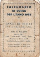 BANCO DI SICILIA  /   1938  _ Calendario Di Borsa - Calendriers
