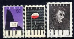 POLAND 1960 Chopin 150th Anniversary Set MNH / **.  Michel 1148-50 - 1944-.... Republic