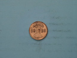 1929 D - 1 Reichspfennig - KM 37 ( Uncleaned - Details Zie Foto´s ) ! - [ 3] 1918-1933 : República De Weimar