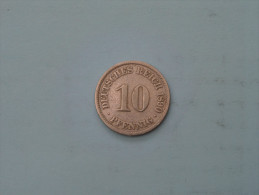 1890 A - 10 Pfennig - KM 12 ( Uncleaned - Details Zie Foto´s ) ! - [ 2] 1871-1918 : Empire Allemand