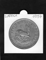 SOUTH AFRICA 5 SHILLINGS ELIZABETH II FIRST PORTRAIT   SUID AFRIKA 1957   SILVER COIN - Sudáfrica
