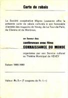Carte De Rabais - Coopérative Migros Lausanne - Théatre Municipal De Vevey - FRANCO DE PORT - Ohne Zuordnung