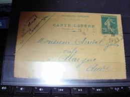 Carte Lettre  140CL 2  De Carcassonne Pour Alaigne Aude   1926 - Postal Stamped Stationery