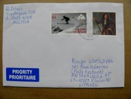 Cover Sent From Austria To Lithuania Skiing Mountains Montecuccoli - 2011-... Briefe U. Dokumente