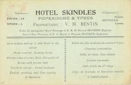 POPERINGE - POPERINGHE - IEPER - YPRES  - HOTEL SKINDLES - Proprietaire : V. M. BENTIN