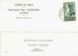 386 Oblitération CARNIERES 1935 Sur Carte Postale Publicitaire Imprimerie Marc LESSINES à CARNIERES - Belgien