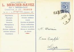 Griffe De RANCE  1952 Sur Carte Publlicitaire L. MERCIER-NAVEZ Imprimerie-papeterie à RANCE - Marcophilie