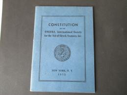 Constitution Of The ANGYRA, International Society For The Aid Of Greek Seamen, Inc.Griechische Seefahrer. 1952. New York - Gesetze & Erlasse