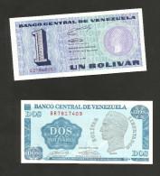 VENEZUELA - BANCO CENTRAL De VENEZUELA - 1 BOLIVAR & 2 BOLIVARES (1989) - LOT Of 2 DIFFERENT BANKNOTES - Venezuela