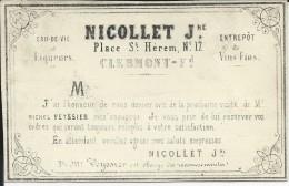 1864 -RARE 1c EMPIRE SEUL SUR CARTE COMMERCIALE NEGOCE EN VINS à CLERMONT-FERRAND (PUY De DOME) EXPEDIEE De FIGEAC (LOT) - 1849-1876: Période Classique