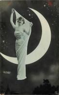 Ref C448- Femme - Montage Photo Surrealiste - Surrealisme - La Lune - Artiste A Identifier  - Carte Bon Etat   - - Femmes
