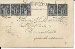 SAGE - 1901 - CARTE TARIF IMPRIME De RAON (VOSGES) Avec AMBULANT ST DIE à NANCY Pour BRUNSTATT (ALSACE) - Postmark Collection (Covers)