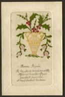 Carte Brodée Vase Et Houx BONNE ANNEE (Gloria) - Brodées
