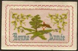Carte Brodée BONNE ANNEE (La Rose) - Brodées