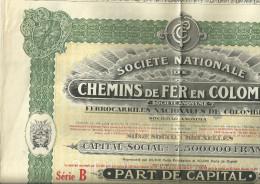 BRUXELLES Societe Nationale De CHEMINS De FER En COLOMBIE  Part De Capital Serie B  N° 02198    3.08.1923 - Actions & Titres