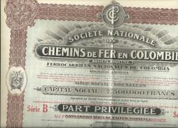 BRUXELLES Societe Nationale De CHEMINS De FER En COLOMBIE  Part Privilegiee Serie B  N° 23345    3.08.1923 - Actions & Titres