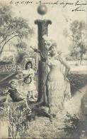 Ref C408- Femme  Et Enfants- Lettre  I - Alphabet - Theme Lettres - Femmes -enfants - Montage Photographique - - Femmes