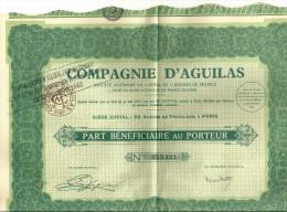 PARIS  COMPAGNIE D'AGUILAS  Part Beneficiaire Au Porteur N° 053,321  31.05.1881  -  28.11.1935 - Actions & Titres