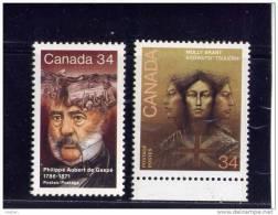 CANADA 1986, # 1090 & 91,  MNH   PHILIPPE AUBERT De GASPE,  CANADIAN AUTHOR  & MOLLY GRANT AMERICAN LOYALIST Ind - 1952-.... Reign Of Elizabeth II