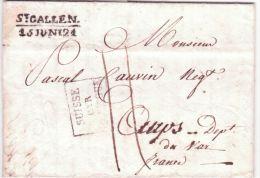 1821- Lettre De St GALLEN / 15 JUNI 21  Pour AUPS ( Var )  Entrée SUISSE /PAR / HUNINGUE - Schweiz