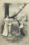 Ref C402- Femme  Et Enfants- Lettre K - Alphabet - Theme Lettres - Femmes -enfants - Montage Photographique - - Femmes