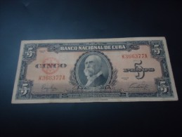 1949 CUBA RARE 5 PESOS ( P 78a )