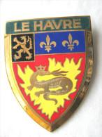 ANCIENNE PLAQUE DE SCOOTER EMAILLEE ANNEE 1950 LE HAVRE (VARIANTE) EXCELLENT ETAT AUCUNS ECLATS DRAGO PARIS - Reclameplaten