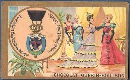 Chromo Chocolat Guerin-Boutron Décorations Françaises Et étrangères Croix étoilée Autriche Dames Noblesse - Guerin Boutron
