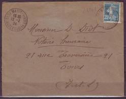 Lettre De DAME MARIE Les BOIS  Indre Et Loire  Le 13 2 1924  SEMEUSE Camee 25c Bleu Pour TOURS - 1906-38 Sower - Cameo
