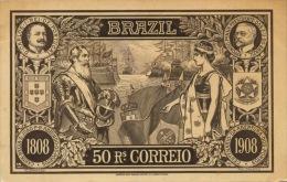 203 - 1909 Brazil 50 RS Correio TRAVELLED - Monete (rappresentazioni)