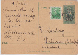 Hongrie - Hungary - Magyar Posta - Entier Postal De Budapest Pour Delitzsch - Postal Stationery 1937 - Entiers Postaux