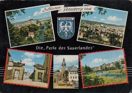 5928- ARNSBERG- GATE, SQUARE, BRIDGE, FOUNTAIN, PANORAMAS, POSTCARD - Arnsberg