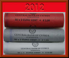 + ROLLS * Cyprus 1-2-5 Eurocent 2012 In Rolls ! NO RESERVE! - Kilowaar - Munten